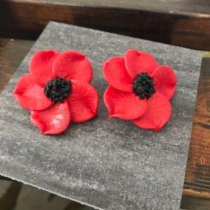 Large Red & Black Flower Clay Stud Earrings